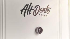 Door logo for Alt Dente Studio