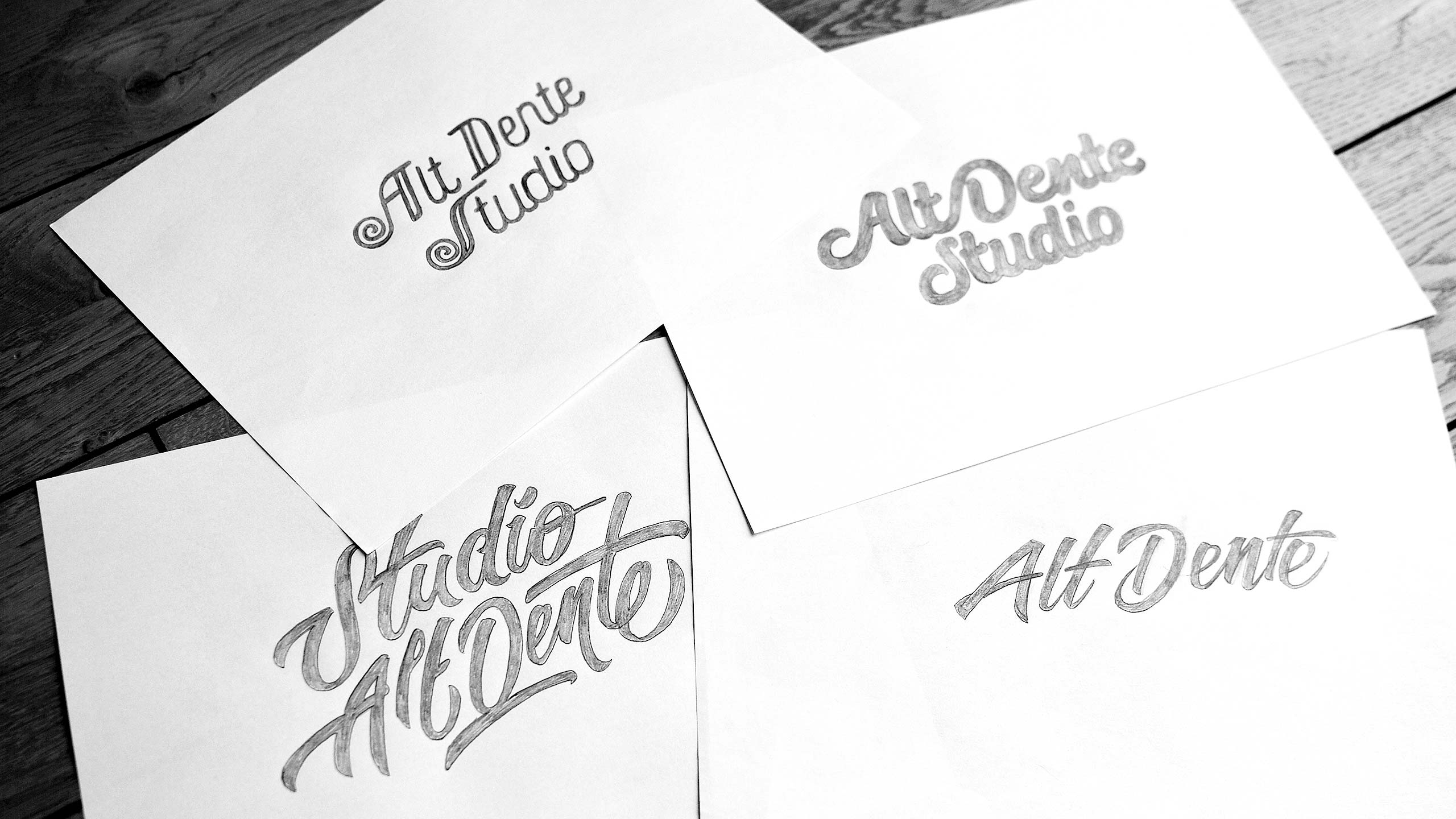 Logo design sketches for Alt Dente Studio