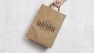Paper bag design for Barber Art & Crafts