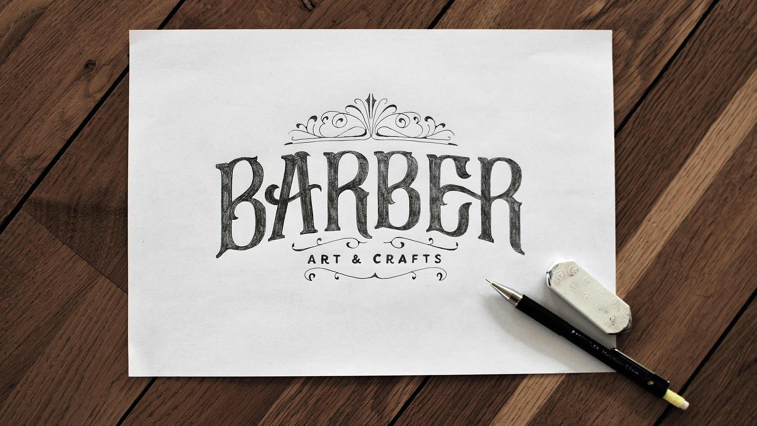 Final sketch for Barber Art & Crafts