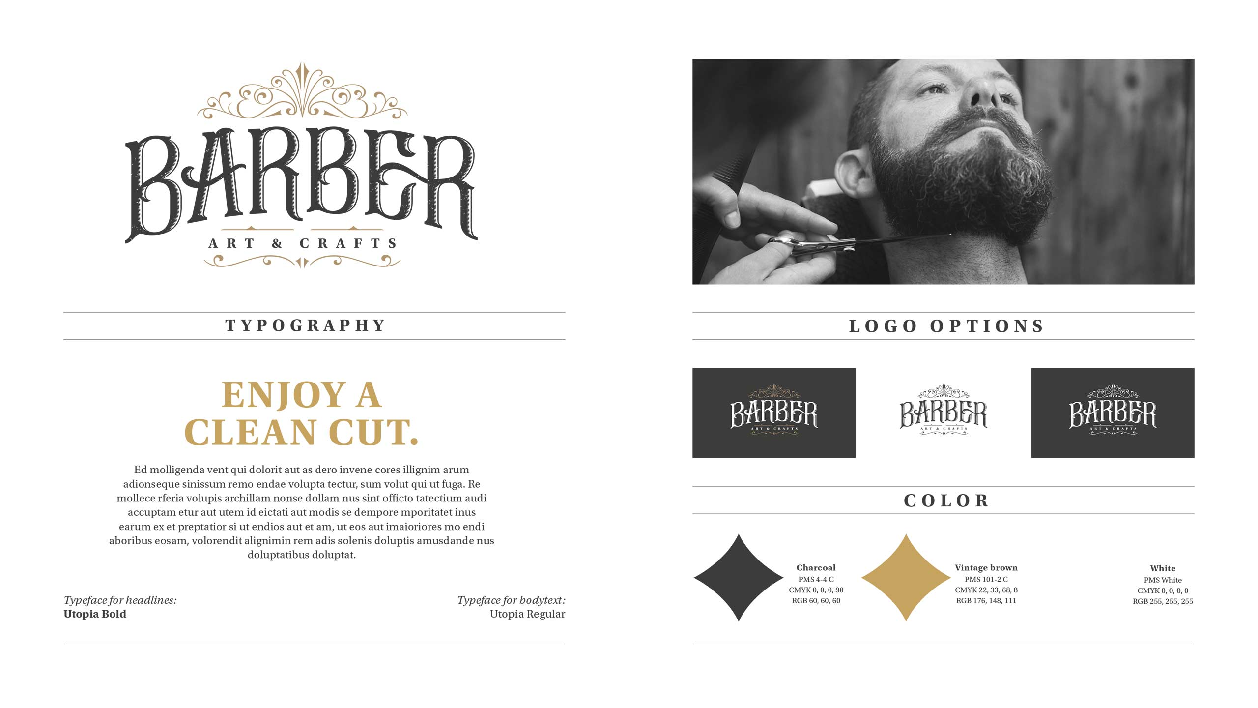 Visual identity overview for Barber Art & Crafts