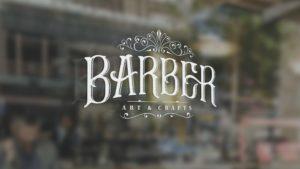 Logo on window design for Barber Art & Crafts