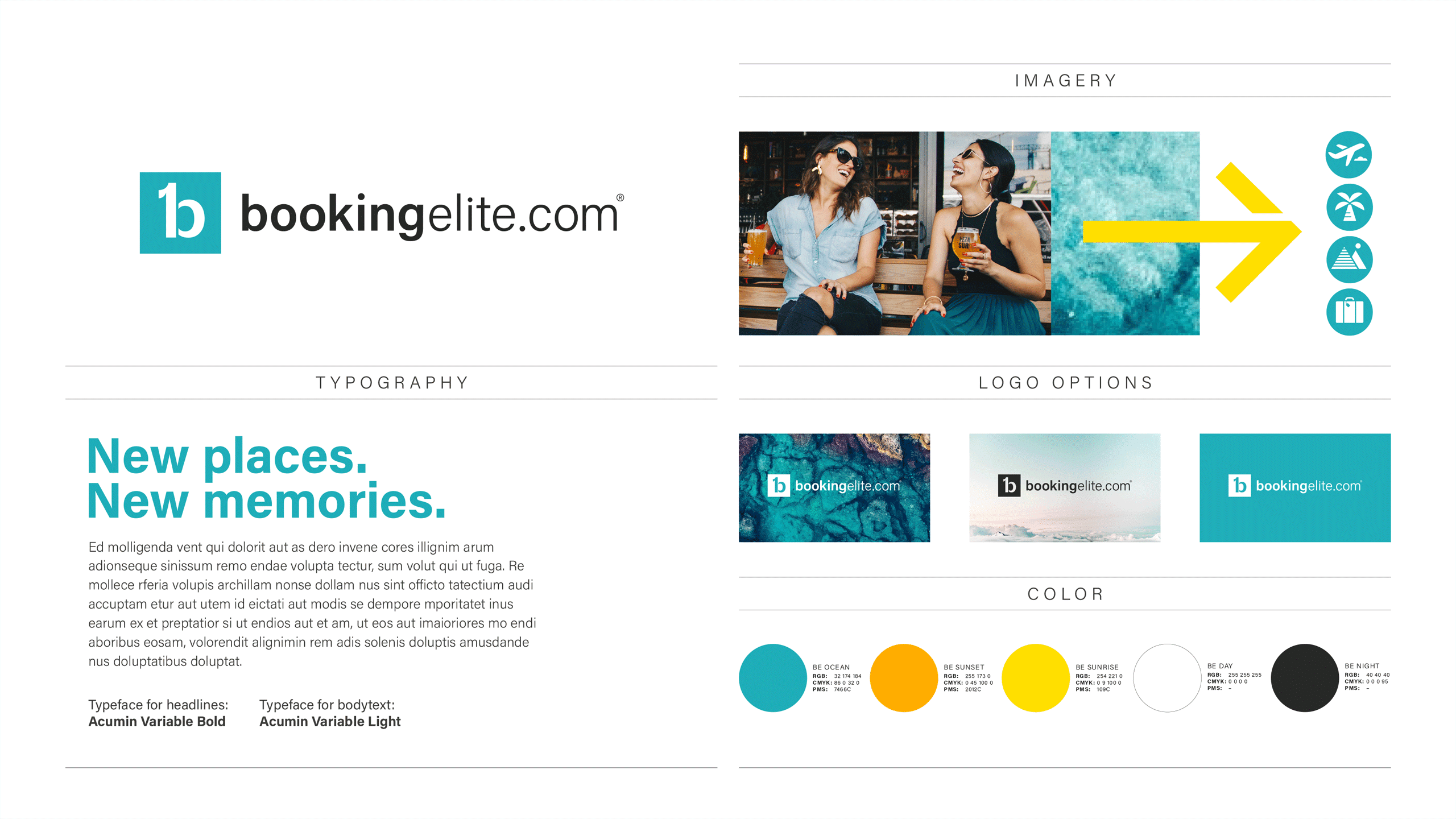 Visual identity overview for Booking Elite.