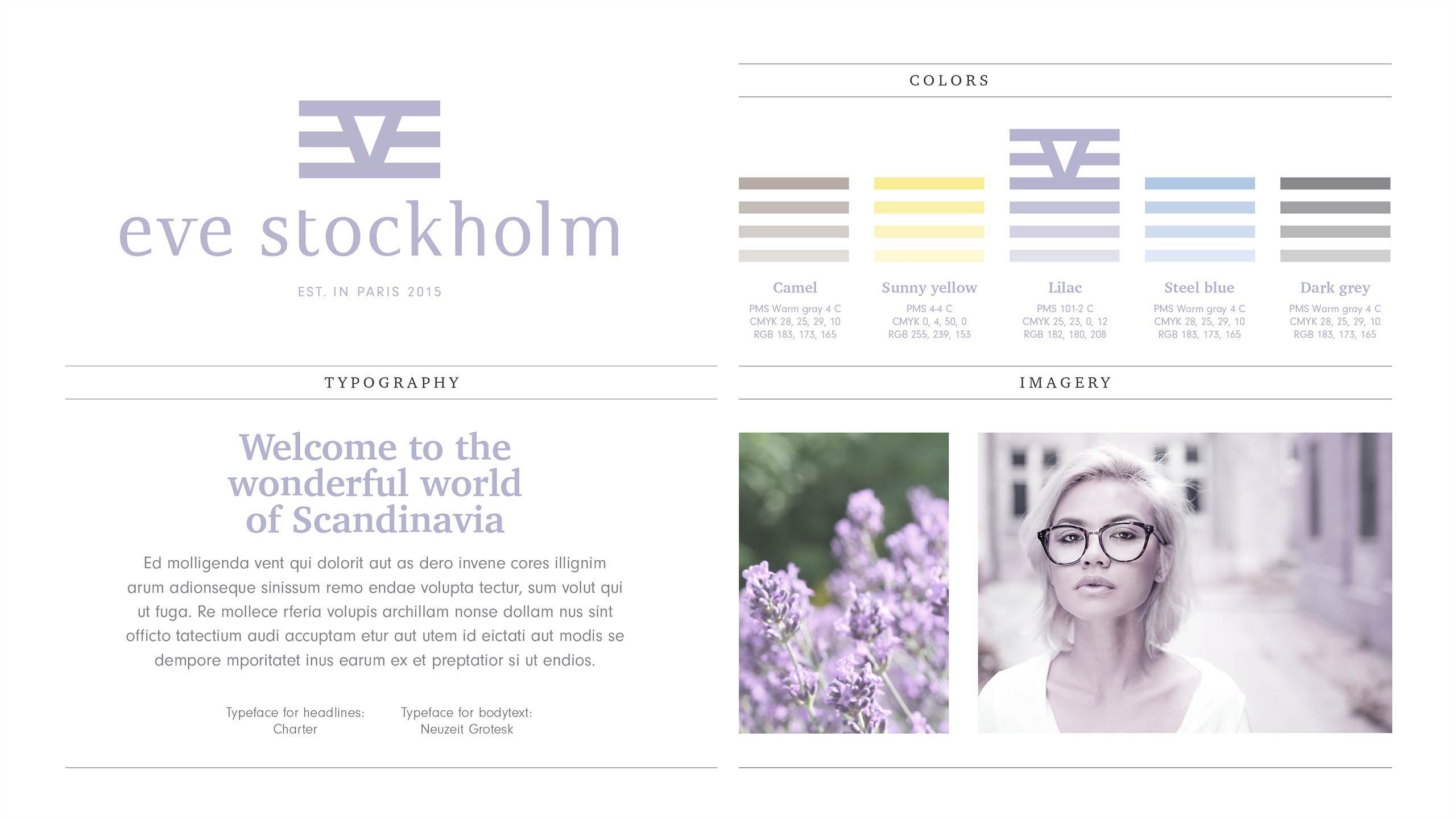 Visual identity overview for Eve Stockholm