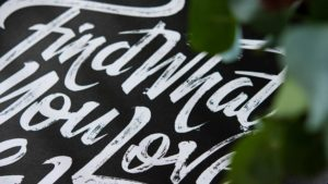 Printed lettering poster for Goode Luck (zoomed in)