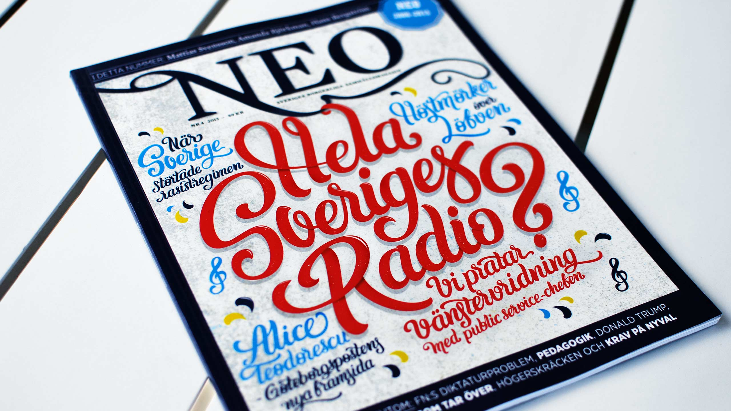 Printed lettering cover for Magasinet NEO