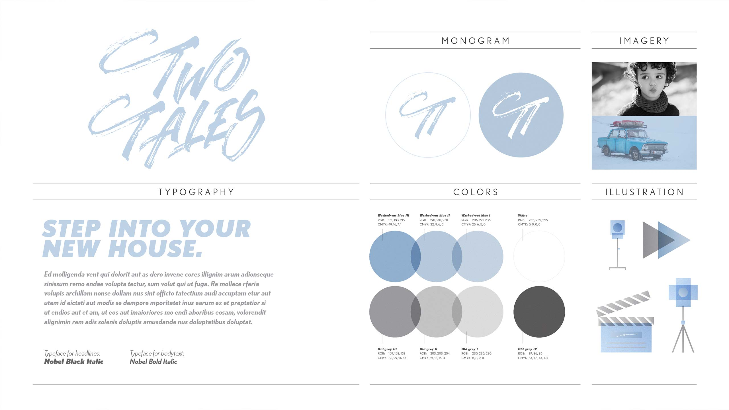 Visual identity overview for Two Tales.
