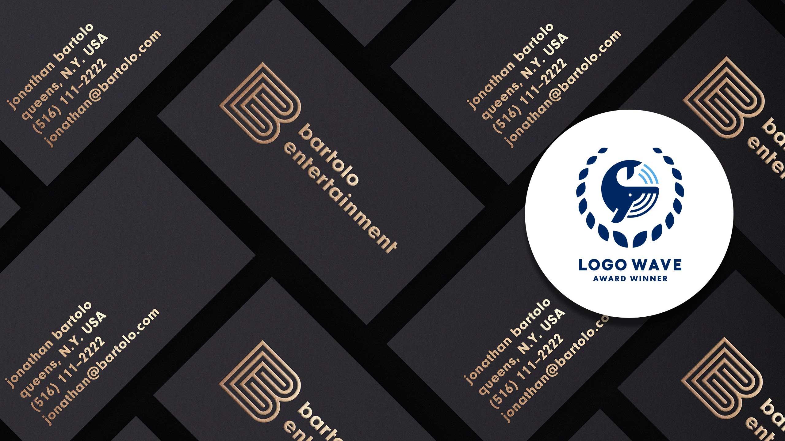 Logo on business cards (with award logo)