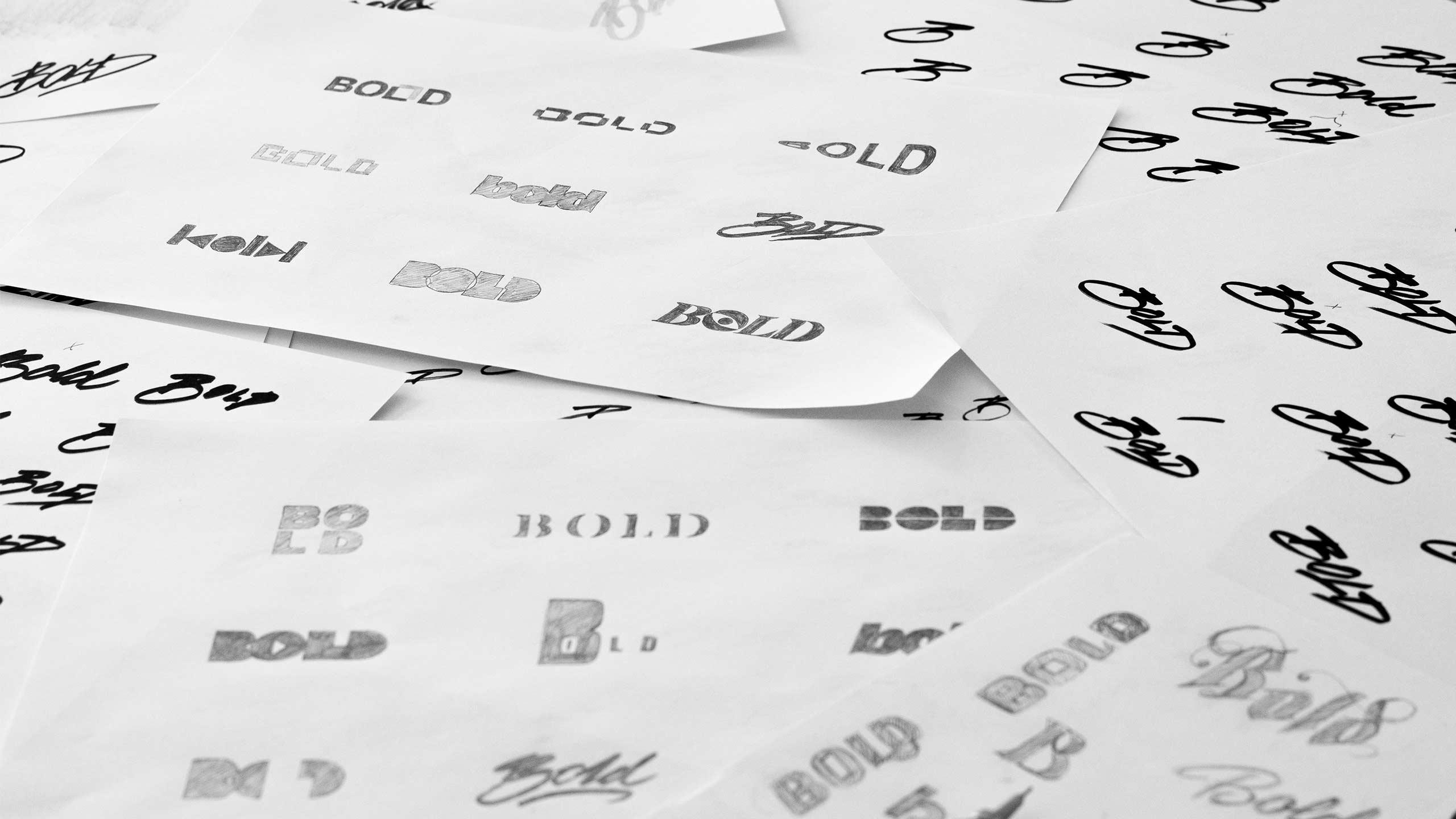 Logo design sketches for Bold.