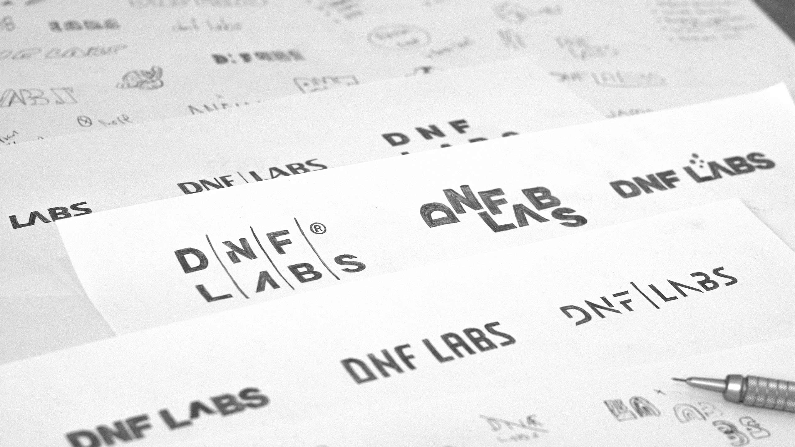 Hand-drawn sketches for DNF LABS
