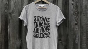 Photo of lettering on tshirt