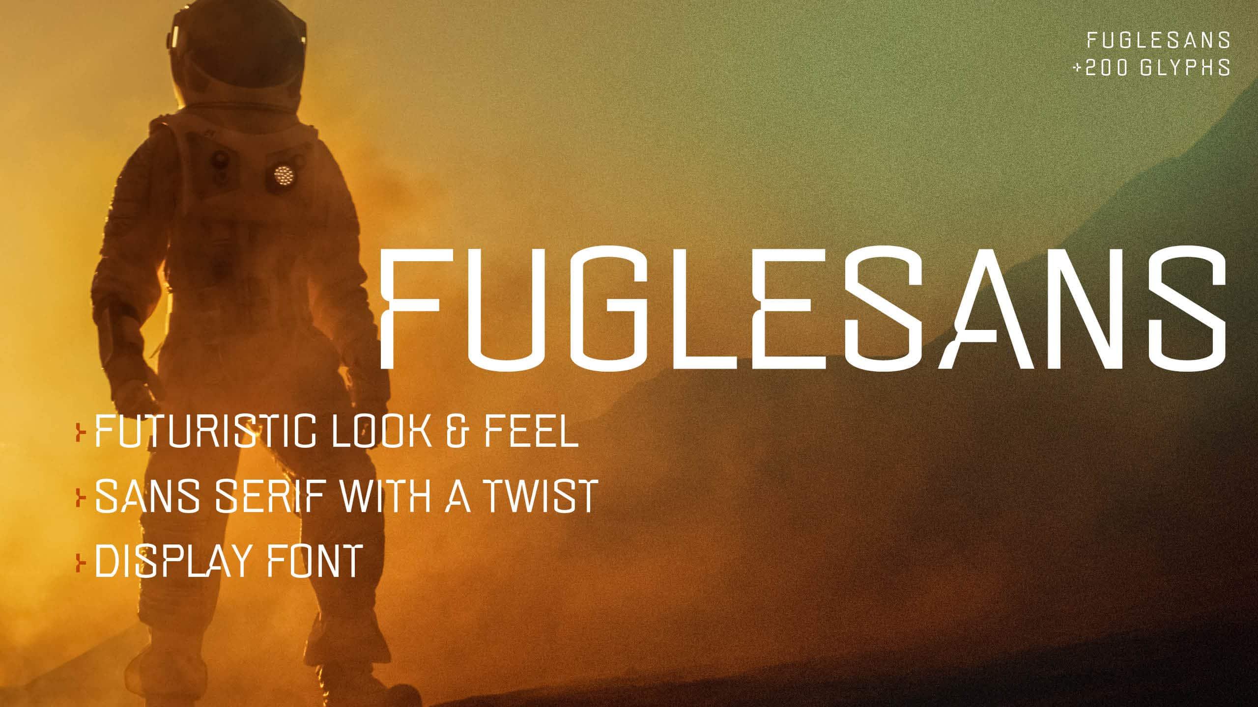 Marketing image for the font Fuglesans, concept image.