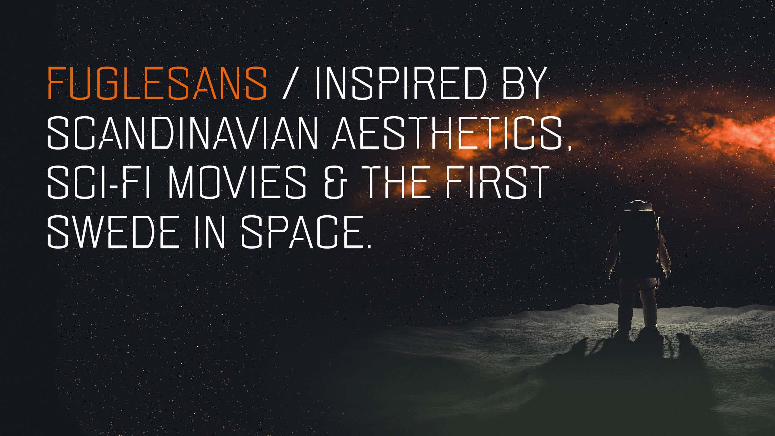 Marketing image for the font Fuglesans, background info.