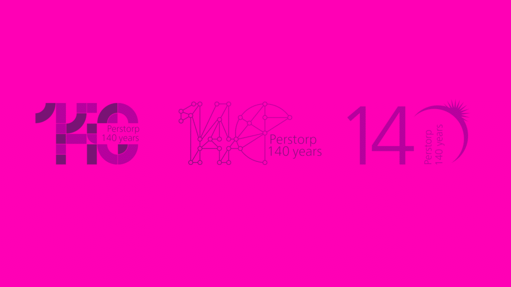 Digital drafts for Perstorp 140 years anniversary symbol.
