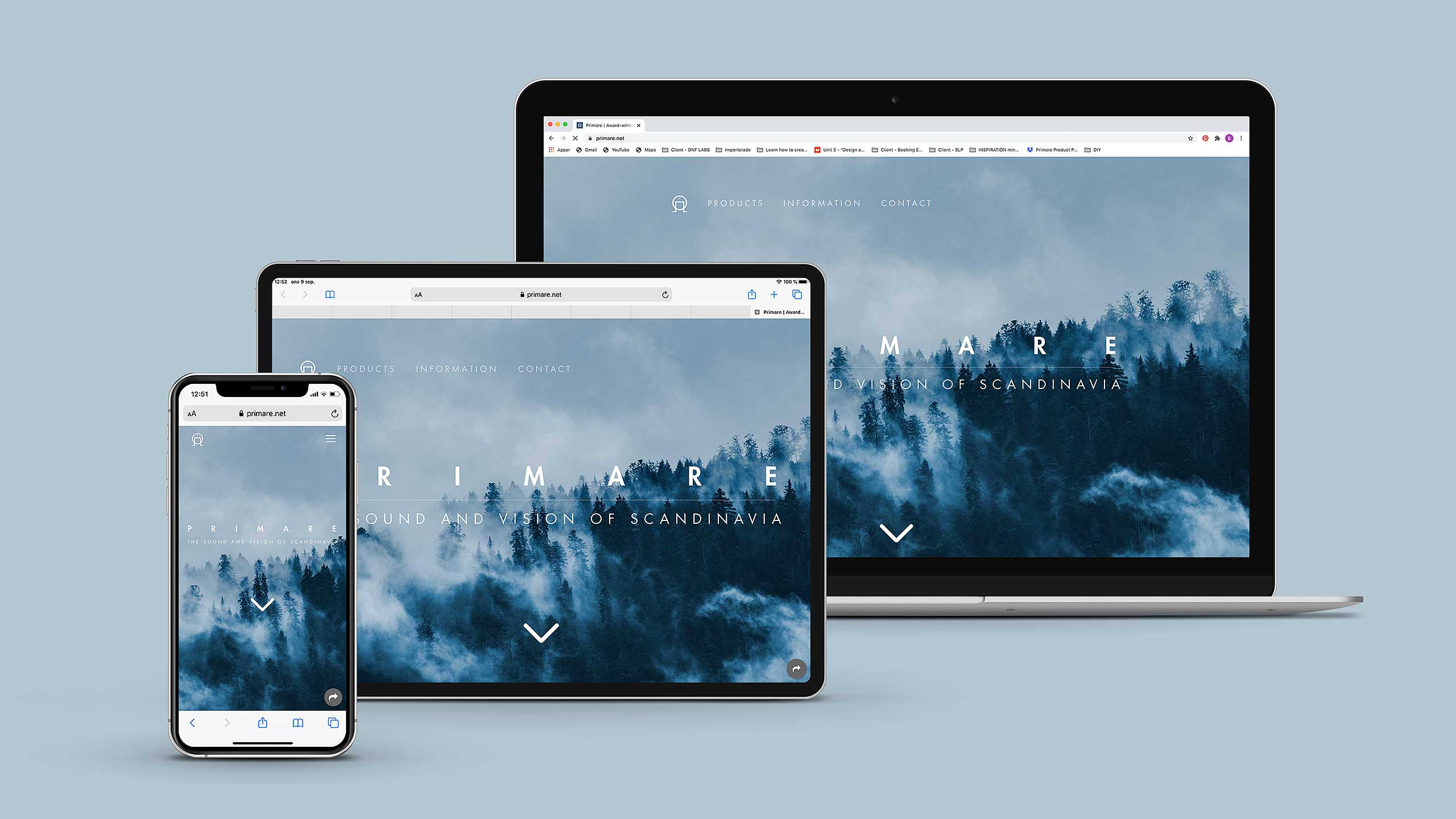 Photo of Primare site on iPhone, iPad and computer