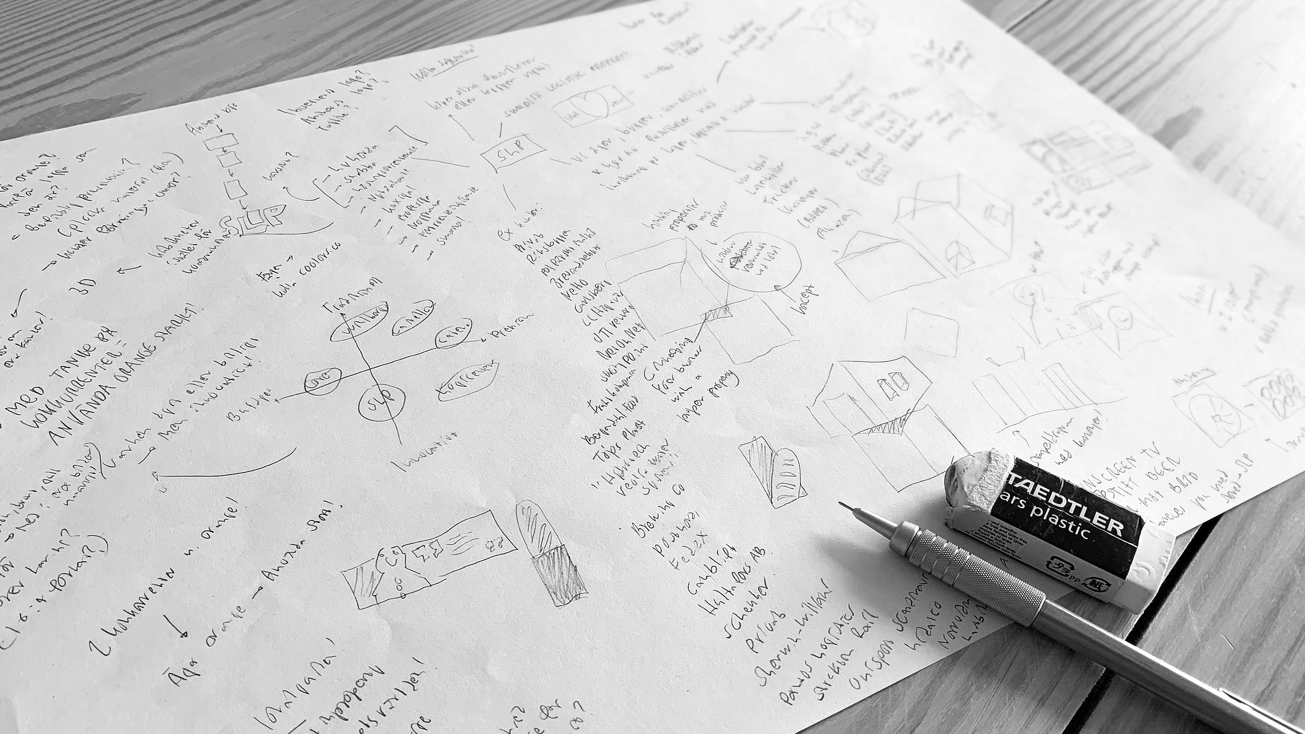 Image of brainstorming sketches.