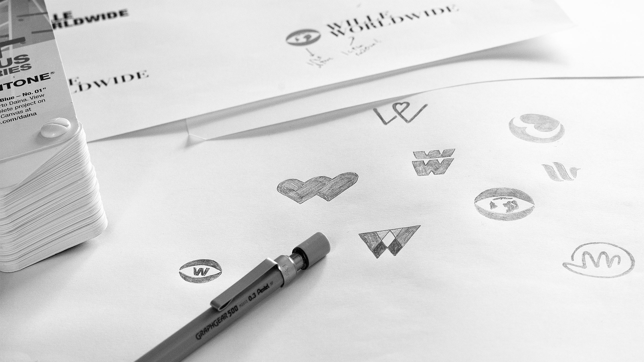 Sketches for the logo design for Wille Worldwide.